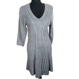 NY Collection Cable Knit Sweater Dress Lar…